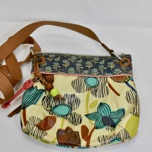 Fossil Key Per Crossbody Bag Denim and print